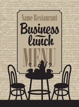 design frame: banner with the interior of the cafe and label business lunch menu Illustration