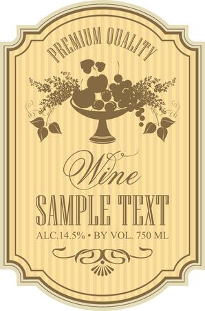 etykieta do wina z miską owoców i bzu Ilustracje wektorowe