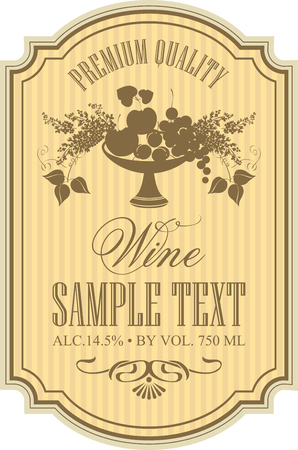 dry flowers: label for wine with a bowl of fruit and lilac