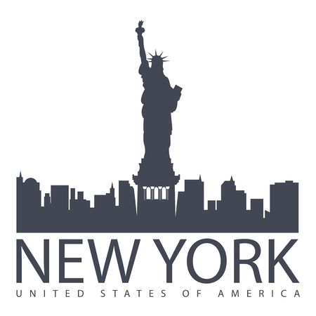 new york: black and white vector illustration of New York with the Statue of Liberty