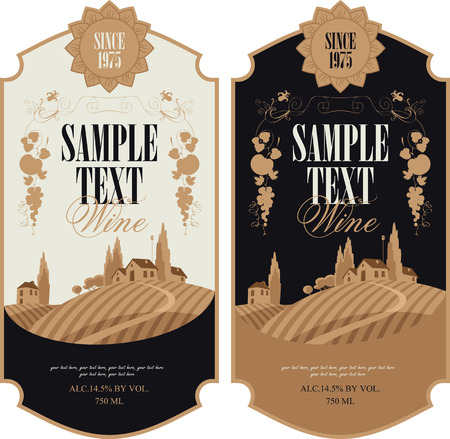 vineyard sunset: wine labels with a landscape of vineyards