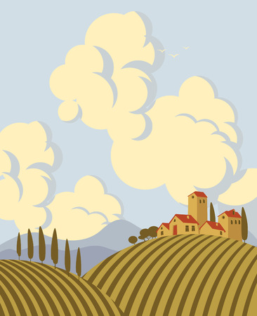 cloudy sky: Italian countryside landscape with vineyards with a cloudy sky