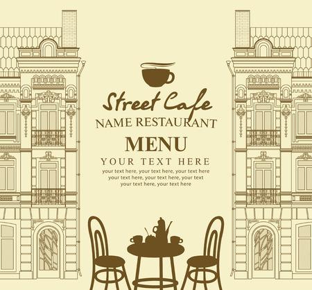 capuchino: Menú para el café de la acera con mesa y arquitectura antigua