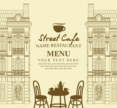 sidewalk cafe: Menu for sidewalk cafe with table and old architecture Illustration