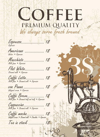 coffee grinder: price menu for coffee grinder and splashes and stains Illustration