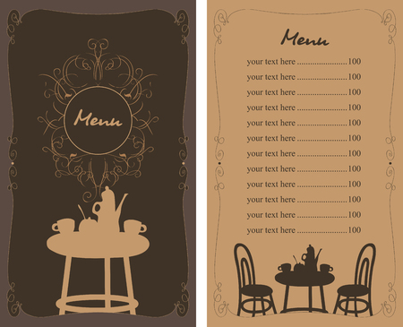 lunch room: menu with a table, chairs and tea in a cafe and Price