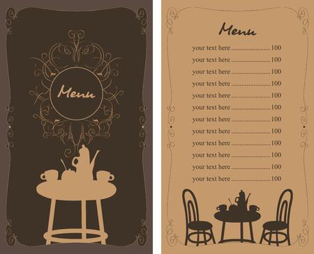 Menü mit einem Tisch, Stühlen und Tee in einem Café und Preis