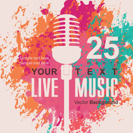 orador: cartel de la música con el micrófono en el fondo de manchas de color