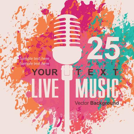 plakat muzyczny z mikrofonem na tle kolorowe plamy Ilustracje wektorowe