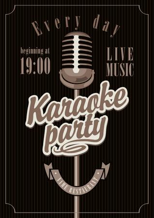 karaoke: banner with microphone for karaoke parties Illustration