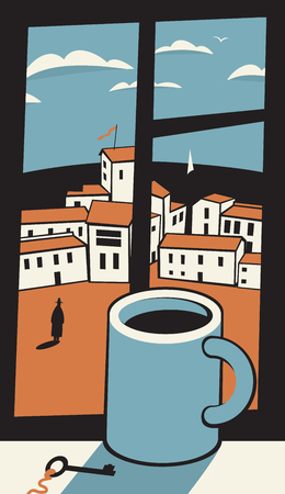cup of coffee on the window sill and the landscape of the old city with the sea behind the window Vettoriali