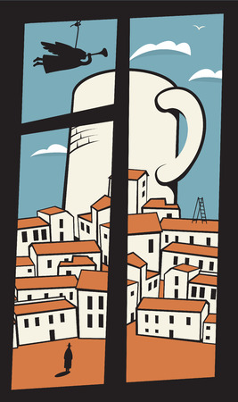window view: view from the window of the old town with a cup of coffee or tea Illustration