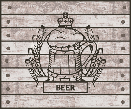 stout: banner with glass of beer on the background of wooden boards