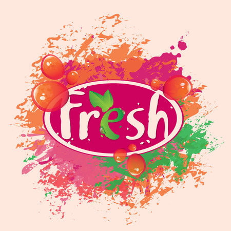 multivitamin: banner for fresh juices with splashes and spots Illustration