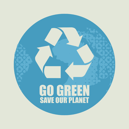 exciting: Go Green Eco Recycling Concept against the backdrop of the planet Earth
