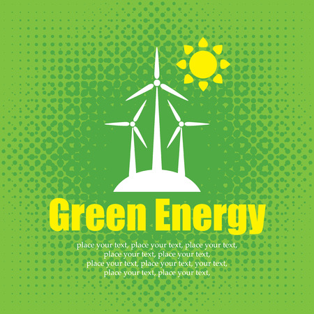 vector concept of green energy with and wind turbines