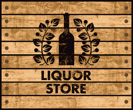 wooden box with a picture of the bottle of wine and liquor store sign Vectores