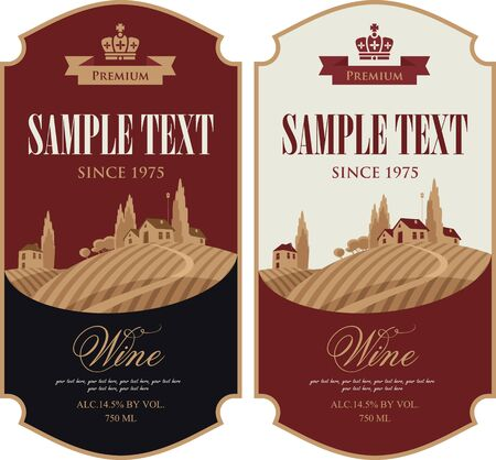 vineyard sunset: wine labels set with a landscape of vineyards