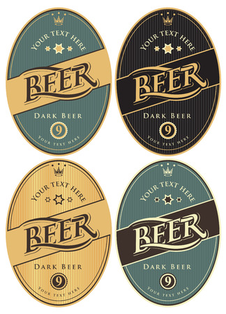 black beer: four labels for beer in a retro style Illustration