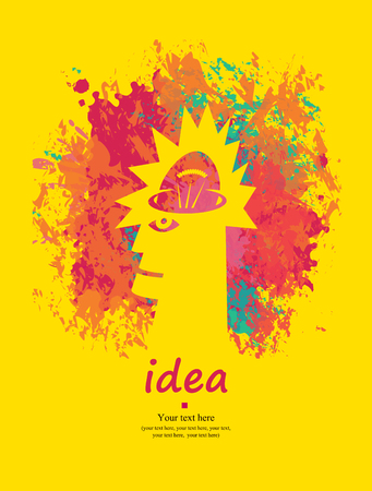 instead: human head with the idea with a light bulb instead of the brain