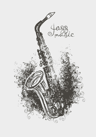 tenor: Vector drawing of a saxophone with floral patterns