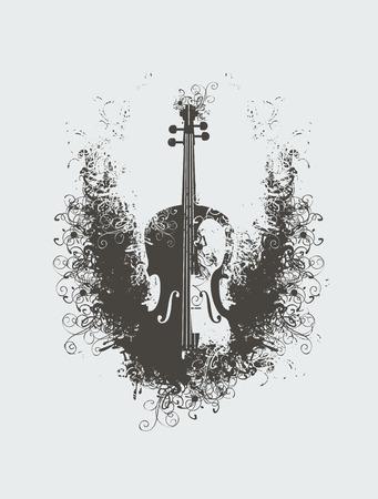 Dibujo vectorial de un violín con motivos florales Ilustración de vector