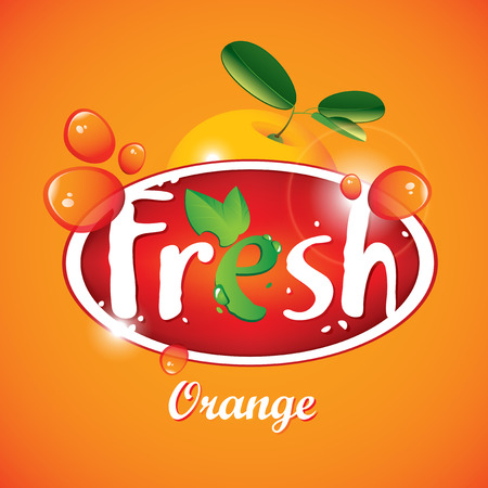 multivitamin: Vector banner for fresh orange juice with fruit