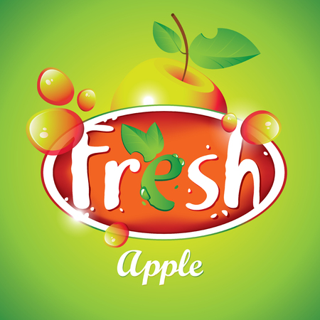 multivitamin: Vector banner for fresh apple juice with fruit