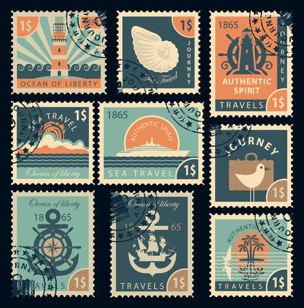 reise retro: Satz von Briefmarken zum Thema Reisen mit dem Meer im Retro-Stil Illustration