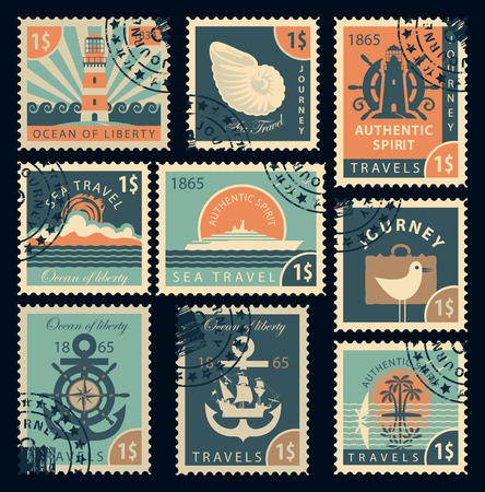 frigate: set of stamps on the theme of travel by sea in retro style