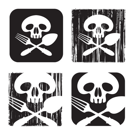 jolly roger: character set Jolly Roger with a human skull and cutlery