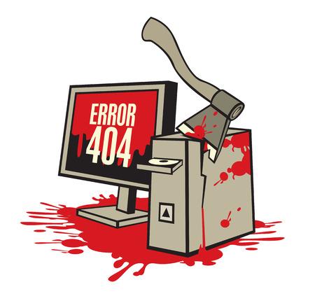 computadora caricatura: ilustración de un equipo roto en la sangre