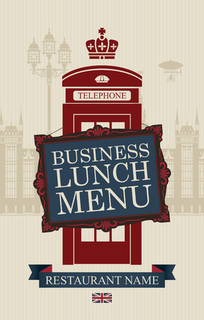 phone booth: menu for business lunches with phone booth and building of the British Parliament Committees