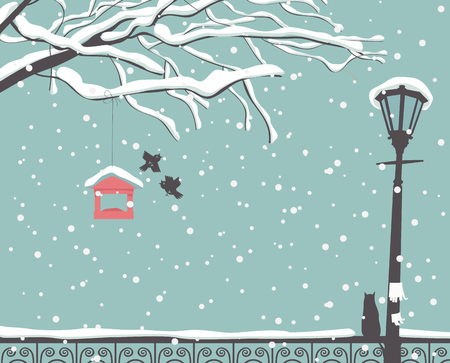 fence park: winter scene at the park with a branch of a tree, a street lamp and a cat on the fence Illustration