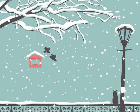 나무, 가로등 및 울타리에 고양이의 분기와 공원에서 겨울 장면