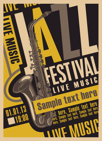 futurism: poster for the jazz festival with a saxophone