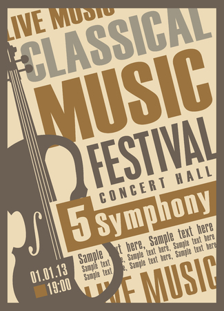 classical: poster for a concert of classical music with violin Illustration