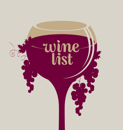 wine grapes: vector banner glass of wine with grapes of Wine list