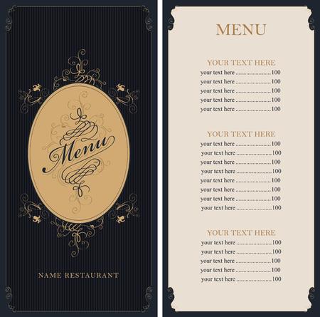 square frame: menu for the restaurant in retro Baroque style Illustration