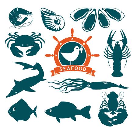 sturgeon: set of animals on the theme of seafood