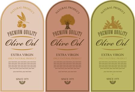 olive oil bottle: set of labels for olive oils with olive tree