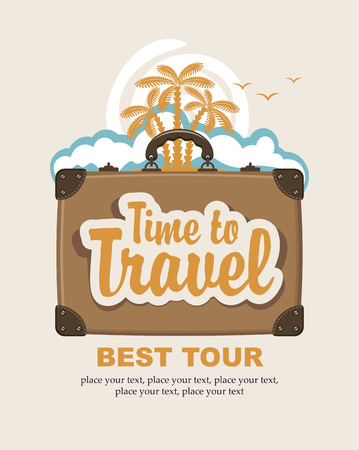 palm trees: travel suitcase with the inscription time to travel and landscape with palm trees on the island Illustration