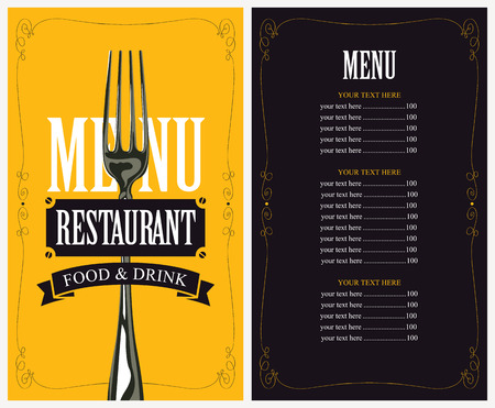 retro restaurant: menu with fork for the restaurant in retro style Illustration