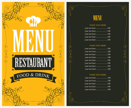 menù per il ristorante in stile retrò con toque e posate Vettoriali