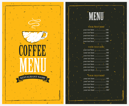 menu for a cafe with price list and a cup of coffee