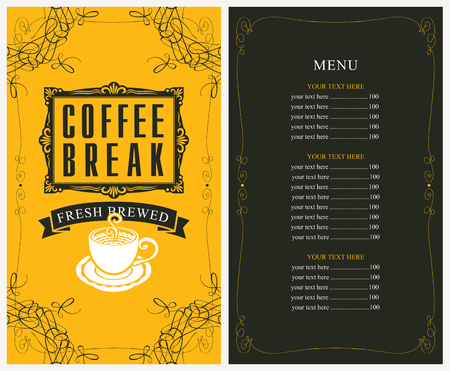 price list: menu for a cafe with price list and a cup of coffee