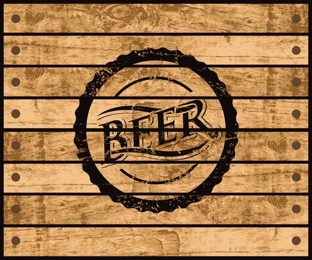 foto van de cover van een fles bier op een houten doos Vector Illustratie