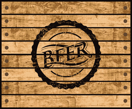 wooden barrel: picture of the cover of a bottle of beer on a wooden box