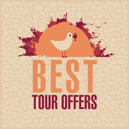 travel agencies: Best Tours Offers. Vector banner for travel agencies with a seagull in the sun