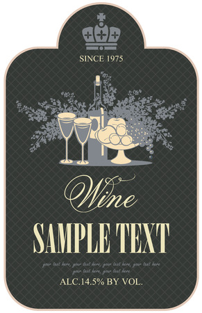 brandy glass: wine retro label with a still life of bottles, fruit and lilac